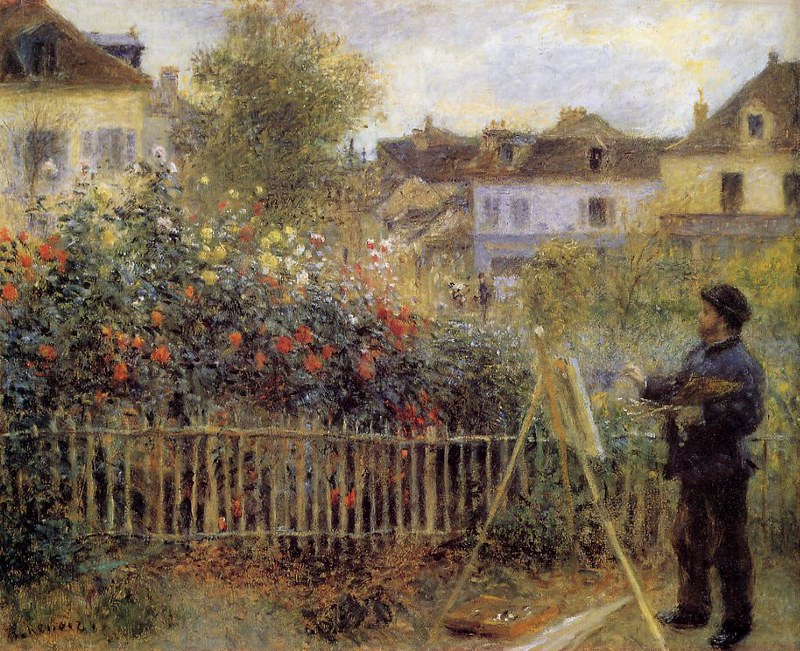 Claude Monet Painting in His Garden at Argenteuil by Pierre Auguste Renoir, 1873