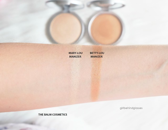 TheBalm Cosmetics Mary Lou Manizer and Betty Lou Manizer swatches