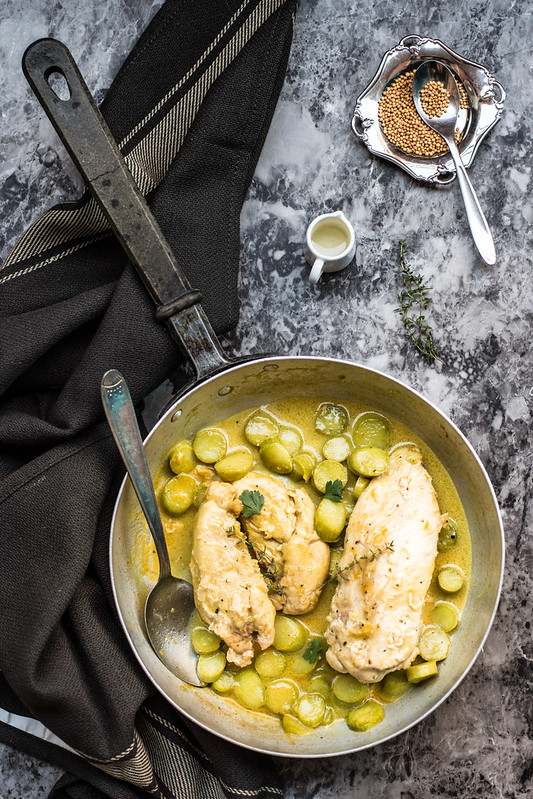 Pollo e zucchine alla senape