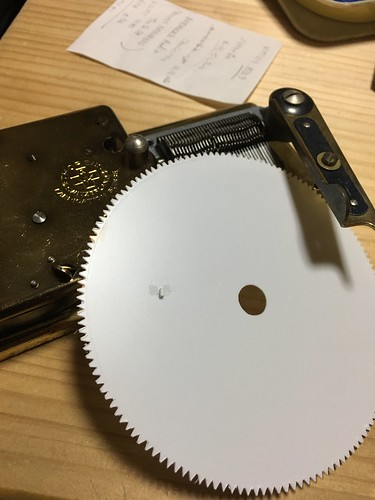 Hand made Test disk for THORENS/REUGE AD30 music box mech. Disk t=0.5mm. Tone tooth H=1.5mm, L=2.5mm. Tone position A5.