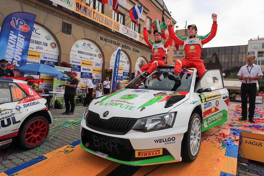 06 GRIEBEL Marijan (DEU) KOPCZYK Stefan (DEU) Skoda Fabia R5 podium during the 2017 European Rally Championship ERC Barum rally,  from August 25 to 27, at Zlin, Czech Republic - Photo Jorge Cunha / DPPI