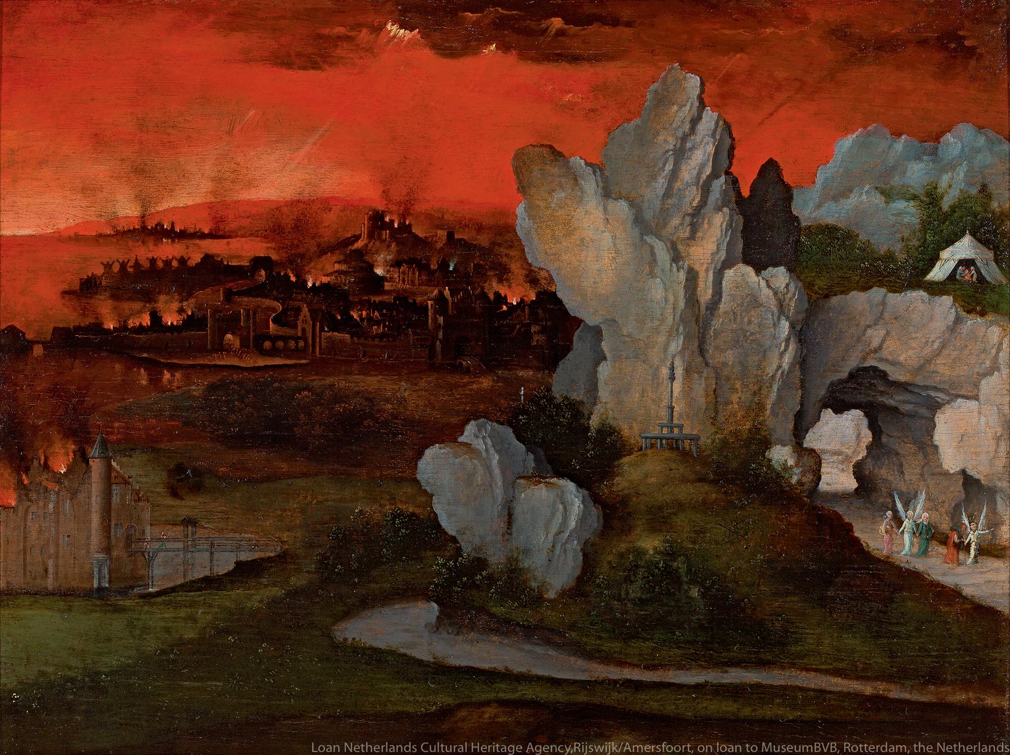 ヨアヒム・パティニール《ソドムとゴモラの滅亡がある風景》(1520年頃)
