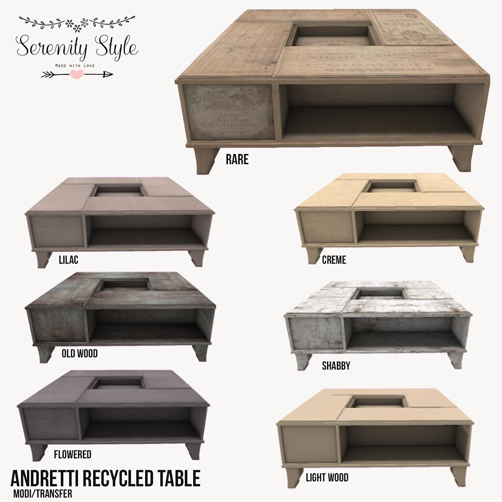 Serenity Style- Andretti Recycled Table Col for Tres Chic - SecondLifeHub.com