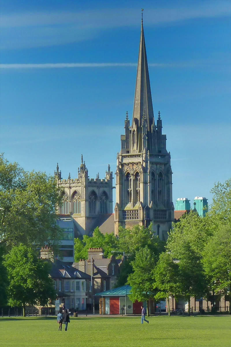 The church of Our Lady and the English Martyrs in Cambridge, England viewed from Parker's Piece. Credit Cmglee