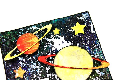 Meihsia Liu Simply Paper Crafts ATC Mixed Media Rocket Planet Universe Simon Says Stamp 2