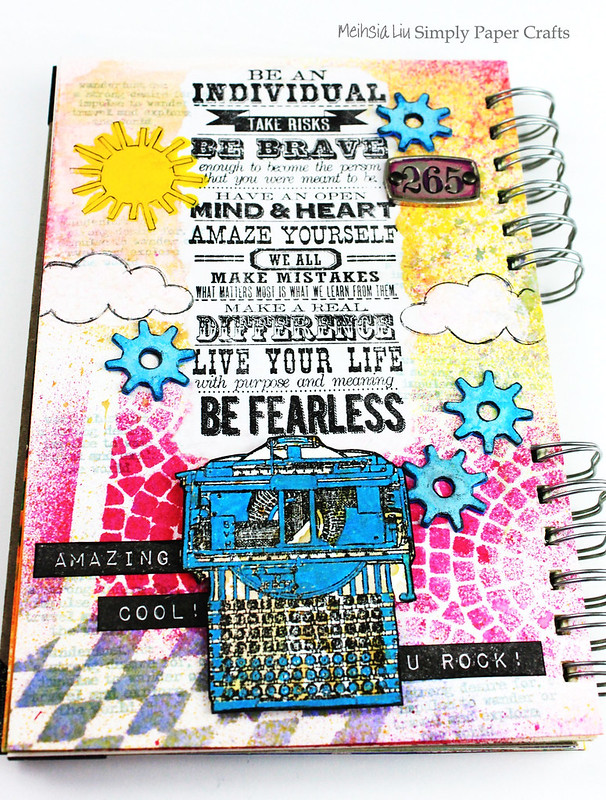 Meihsia Liu Simply Paper Crafts Mixed Media Art Journal Fearless Typewriter School Simon Says Stamp Tim Holtz 1