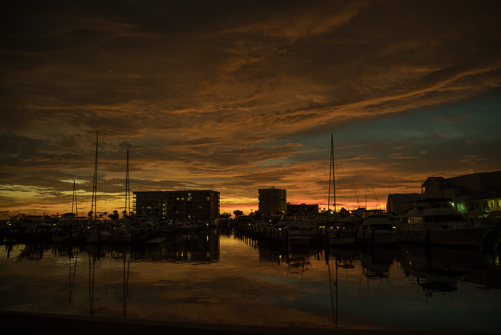 Bronze clouds at sunset over the marina