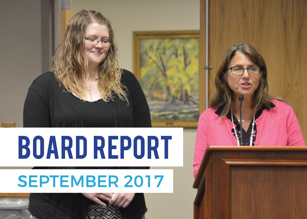Sarah Wilson and Kandace Barber addressing the board of education with text 'Board Report | September 2017'