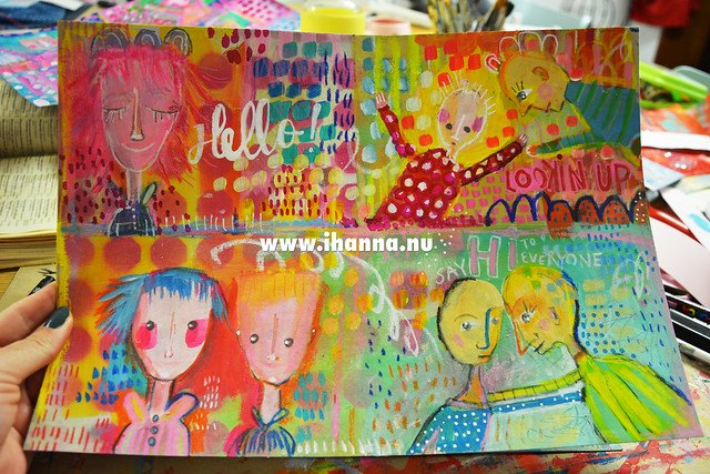Sheet of painted DIY Happy Girl Postcards (Photo and art by Hanna Andersson a.k.a. iHanna, Sweden) #mailart
