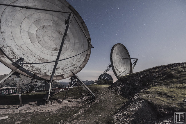 20 meter high troposcatter dishes at an abandoned radar station. During the cold war, the NATO used this stations as communication and monitoring system.