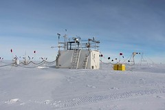 "The ""skip container"" housing the AWARE Extended Facility instruments at the WAIS Divide Ice Camp."