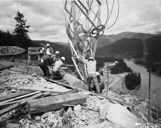 Workers installing tower at Boundary Dam, 1967