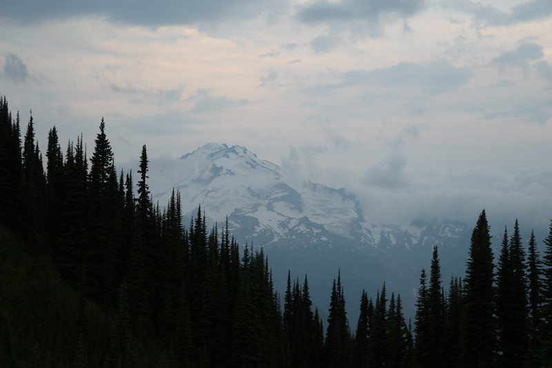 Glacier Peak with clouds forming around it as the storm clouds arrive, from our camp at Image Lake
