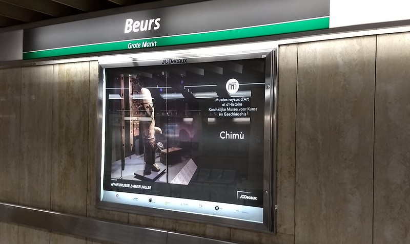 Brussels metro station poster showing Tintin-related museum ad