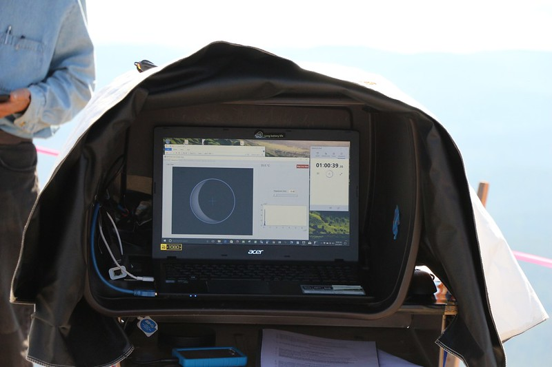A view of Joe Earp's computer screen showing the view through the solar telescope - 12 minutes until totality