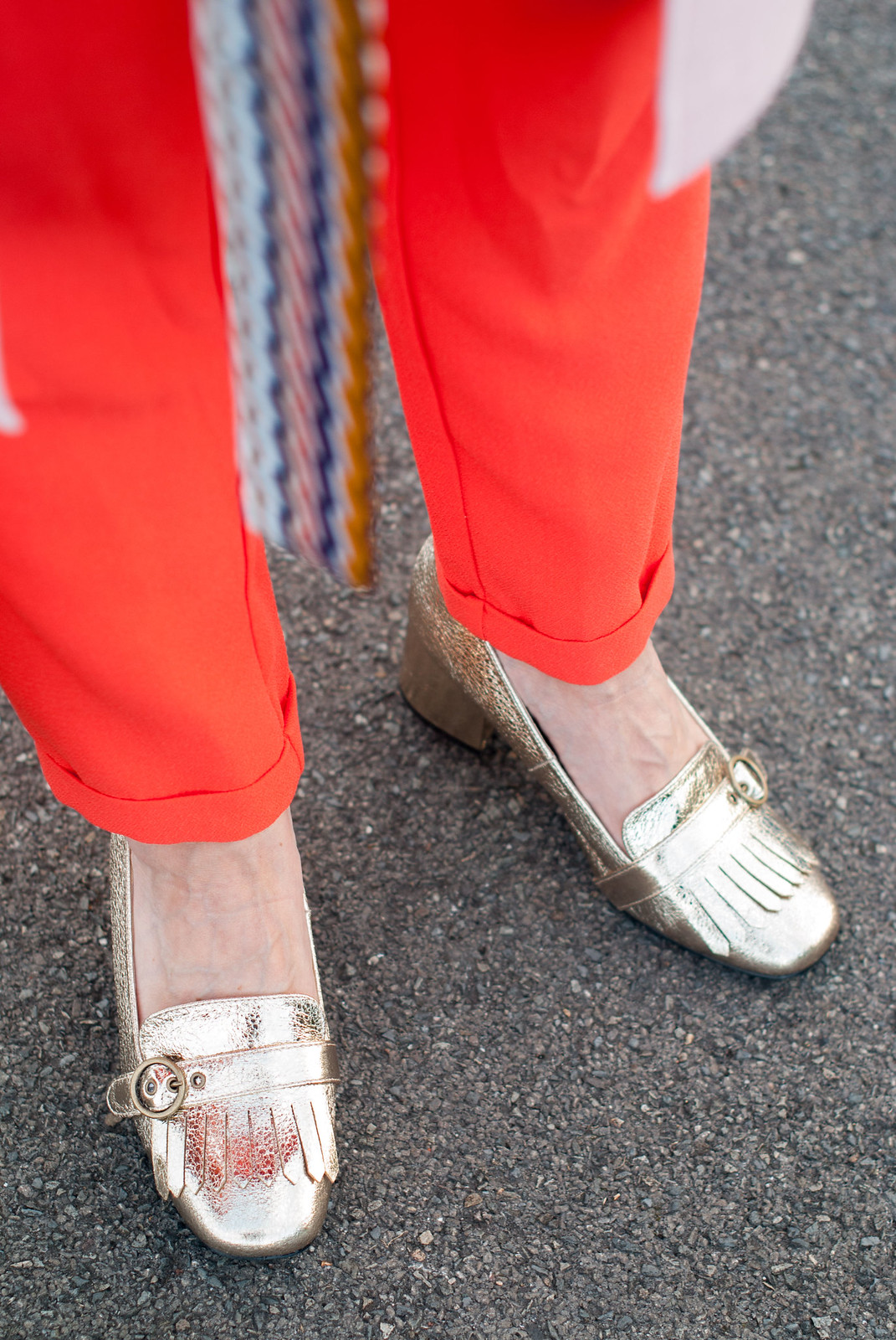 Ways to wear an orange jumpsuit: With a longline pink coatigan, metallic gold block heel loafers, 70s style skinny scarf | Not Dressed As Lamb, over 40 style