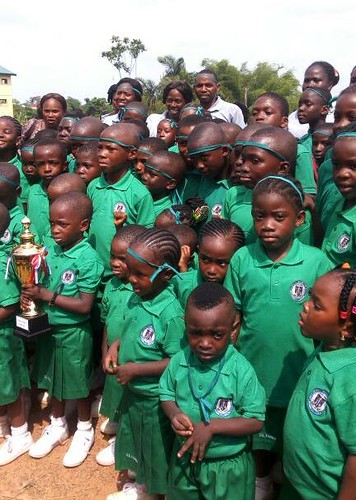 The Green house students from St Louis NPS Ondo win the inaugural interhouse sports competition