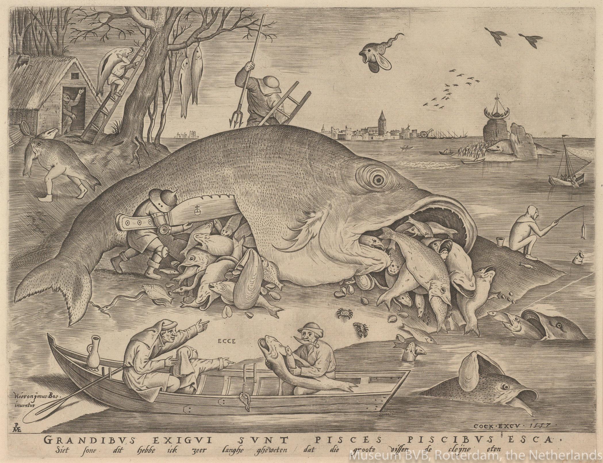 ピーテル・ブリューゲル1世、彫版:ピーテル・ファン・デル・ヘイデン《大きな魚は小さな魚を食う》(1557年、エングレーヴィング)
