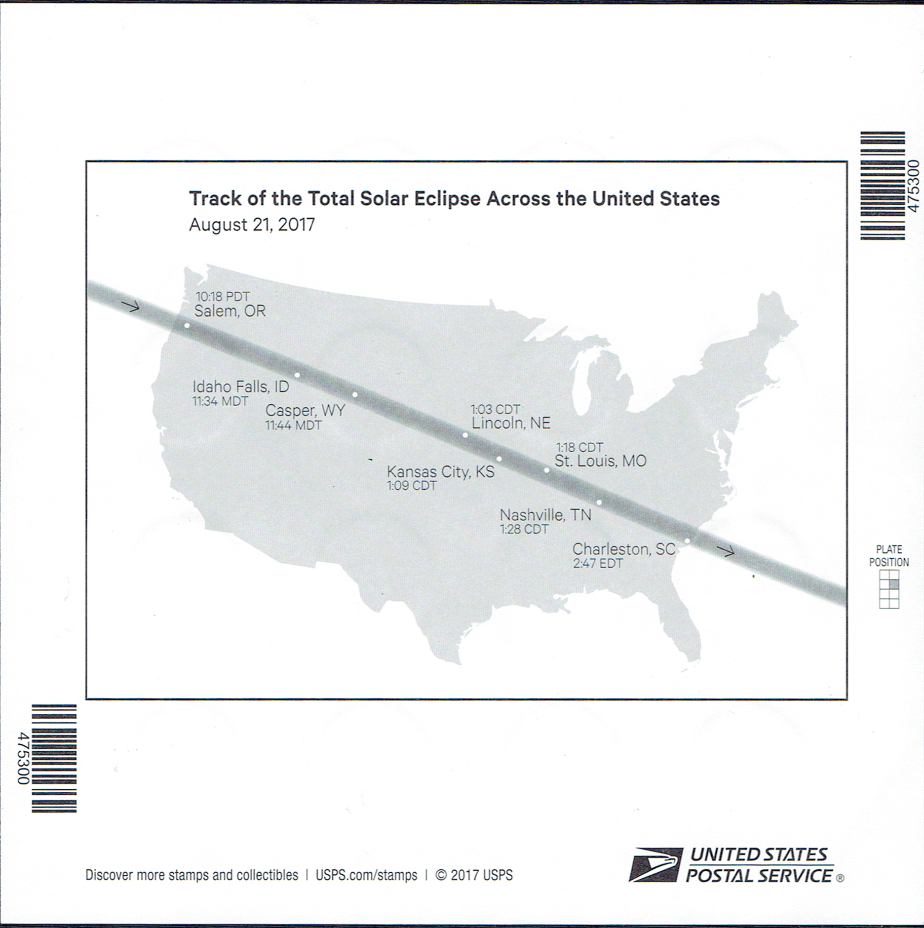 United States #5211 (2017) reverse of full pane with map showing path of totality for the August 21, 2017 total solar eclipse