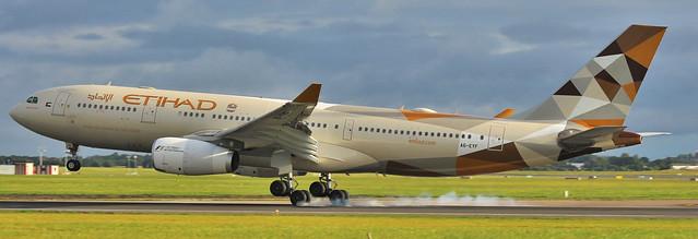 A6-EYF Airbus A330-243 Etihad Airways Landing at Dublin Airport