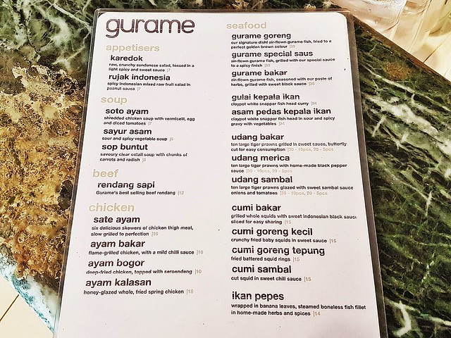 Gurame Indonesian Restaurant Menu Ala-Carte