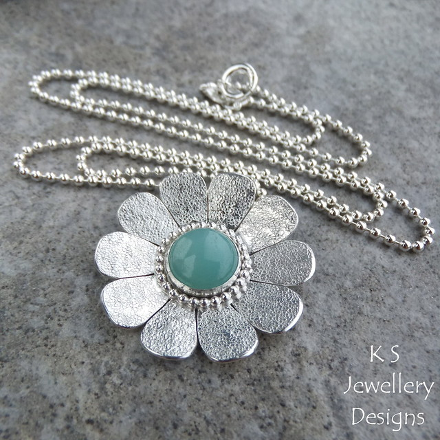 Amazonite Sterling Silver Textured Daisy Pendant