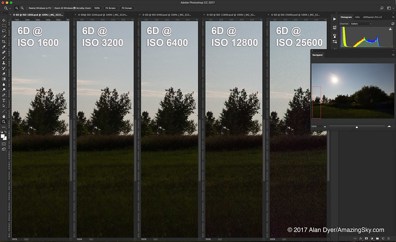 Canon 6D Noise Comparison at 5 ISOs