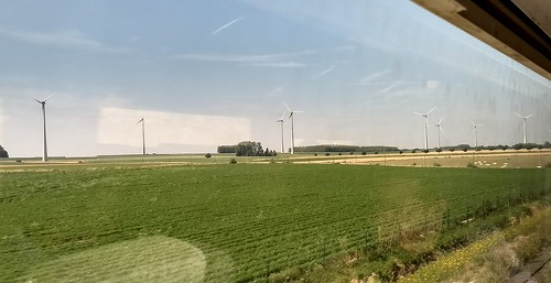 View from Eurostar of wind turbines in Belgium