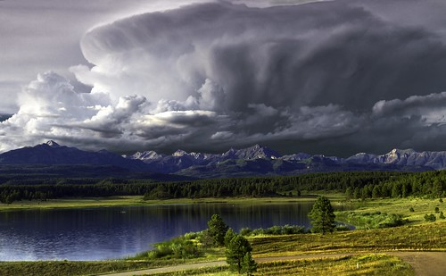 colorado pagosaspringsco mountains clouds stormclouds trees landscape