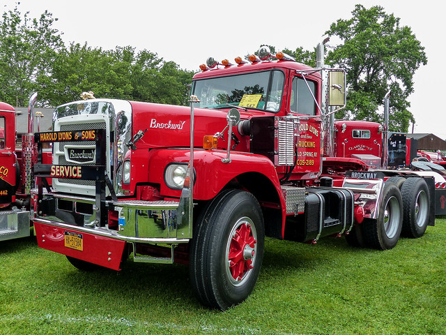 Harold Lyons & Sons Trucking's 1973 Brockway 671 Semi Tractor