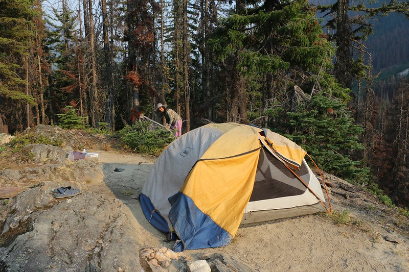 Our tent and campsite on a small ridge in the middle of the burned zone on the Buck Creek Trail
