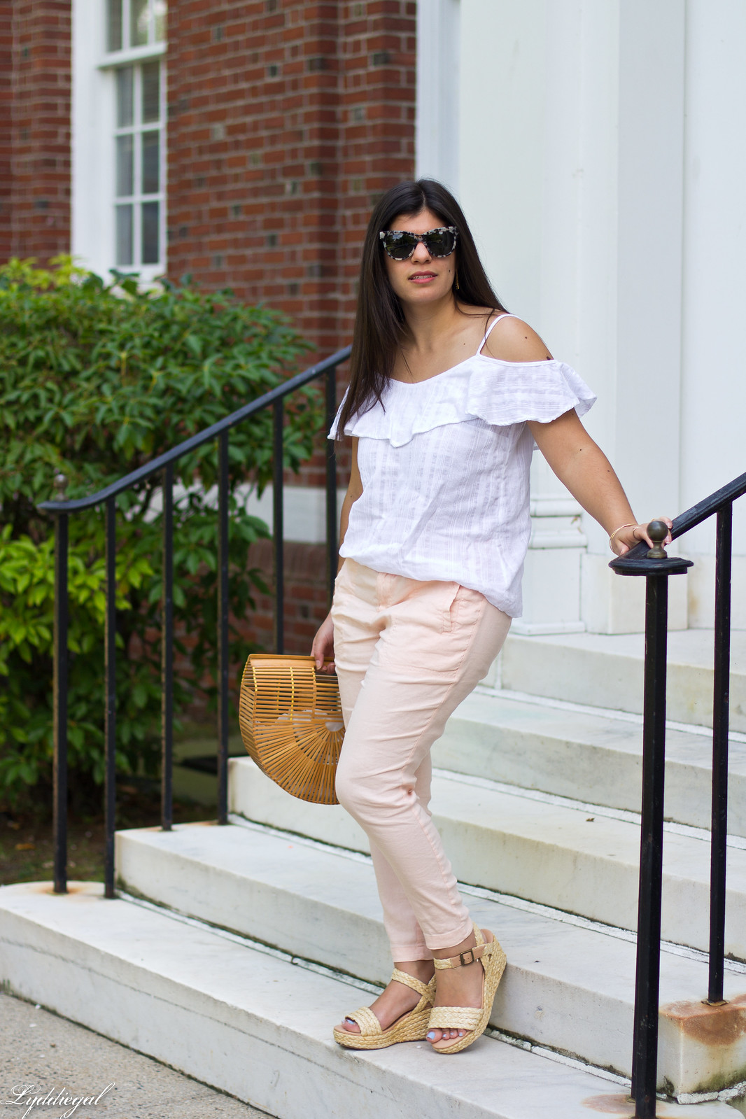 white off the shoulder cami, blush linen pants, bamboo purse-3