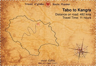 Map from Tabo to Kangra