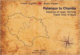 Map from Palampur to Chamba