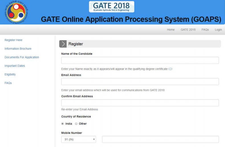 GAte 2018 Registratio Form