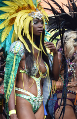 DSC_2885b Notting Hill Caribbean Carnival London Exotic Colourful Costume with Green and Yellow Feather Headdress Showgirl Performer Aug 28 2017 Stunning Lady Perhaps my favourite Costume
