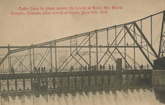 UP Sault Ste Marie SOO MI June 9 1909 SWING DAM CLOSED when Soo Locks seriously damaged by the SS Perry G Walker which crashed into the south main gate breaking it diagonally in two1