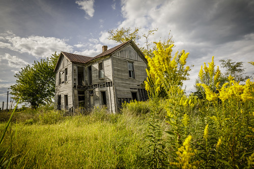 http://www.notleyhawkins.com/, Notley Hawkins Photography, Notley, Notley Hawkins, Home, house, abandoned, clouds, sky, rural, Prairie Home Missouri, Cooper County Missouri, 2017, September, goldenrod class=