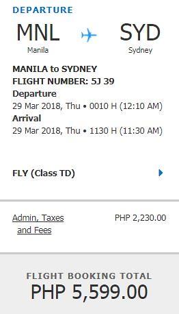 Manila to Sydney Promo March 29, 2018