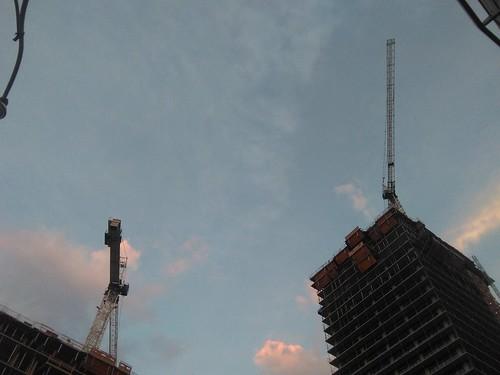 Cranes in pastel evening #toronto #yongeandeglinton #cranes #construction #towers #evening #pastel