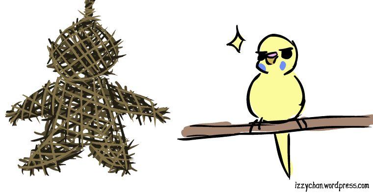 wicker man bird toy budgie yellow