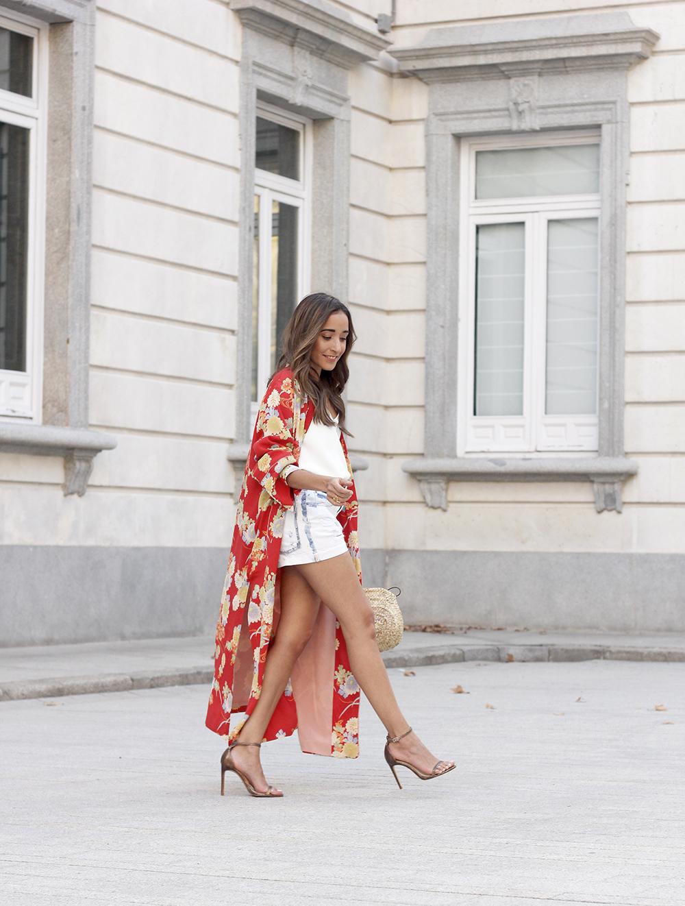 Flowered maxi kimono denim short heels summer girl style fashion07