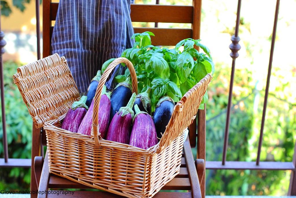 Melanzane striate e melanzane lunghe nel cestino