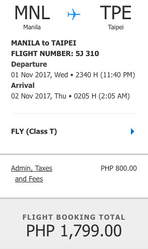 Manila to Taipei November 1, 2017 Promo