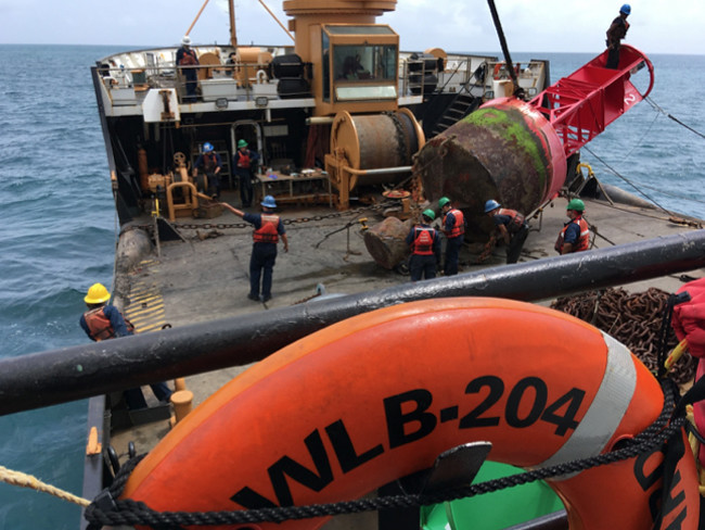 Coast Guard Cutter Elm restores buoys in San Juan after Hurricane Maria