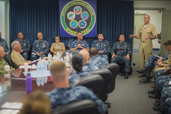 Adm. Scott Swift speaks with the staff at Afloat Training Group Pacific on Naval Base San Diego, Sept. 14. (U.S. Navy/MC1 Trevor Welsh)