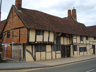Exterior of a building with visible timbers in Stratford-Upon-Avon