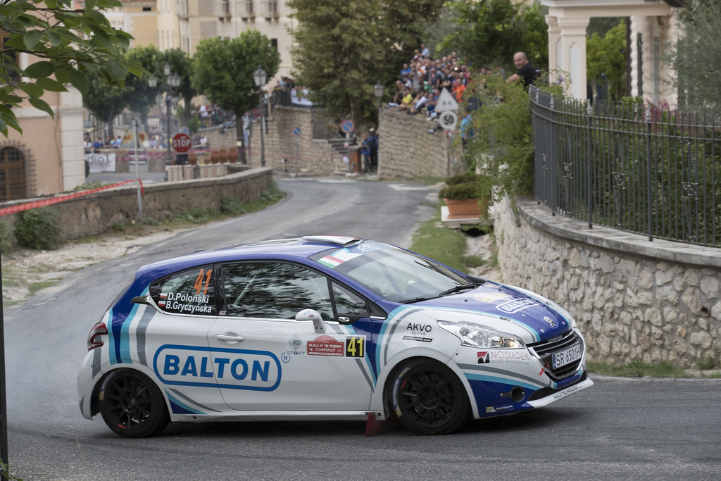 41 POLONSKI Dariusz (POL) GRYCZYNSKA Balbina  (POL)  Peugeot 208 R2 action during the 2017 European Rally Championship ERC Rally di Roma Capitale,  from september 15 to 17 , at Fiuggi, Italia - Photo Gregory Lenormand / DPPI