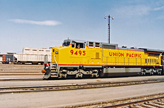 Union Pacific C41-8W No. 9495 Rolls Through San Bernardino With A Friendly Crewmember