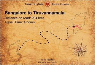 Map from Bangalore to Tiruvannamalai